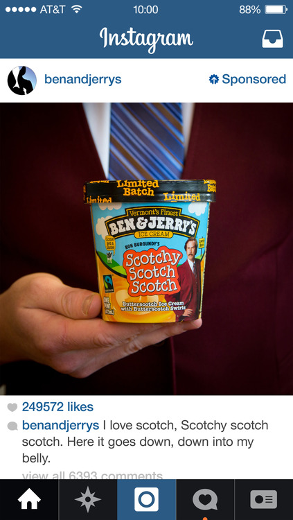 Ben and Jerrys Instagram Ads Example