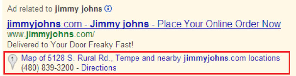 Google AdWords Location Extension
