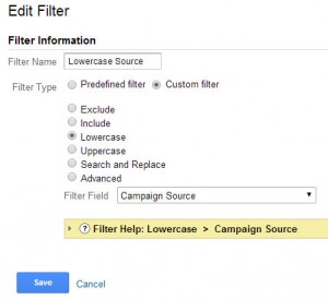 Lowercase Campaign Source Filter