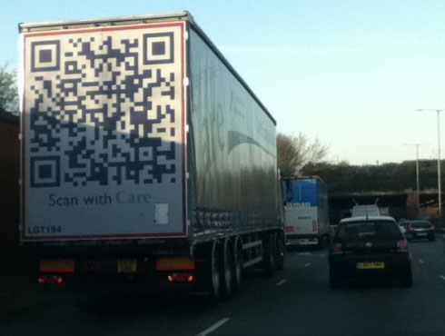 QR Code on the Back of Semi Truck