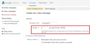 AdWords YouTube Advertising Budget