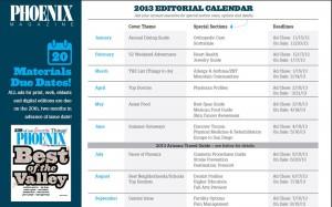 Phoenix Magazine Editorial Calendar