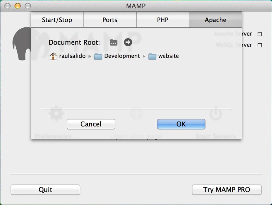 MAMP APACHE Settings
