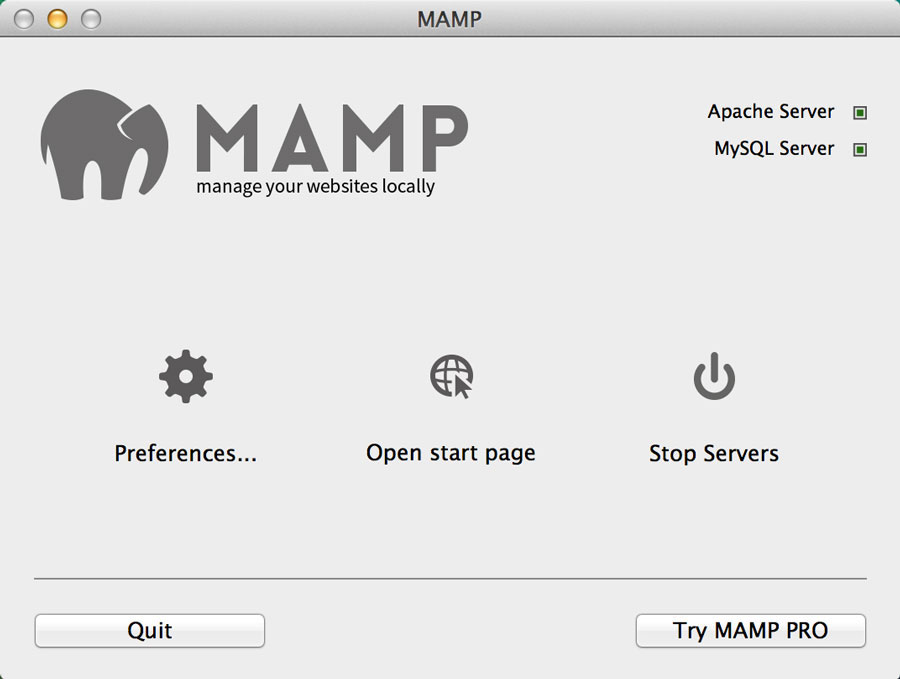 MAMP Main Screen