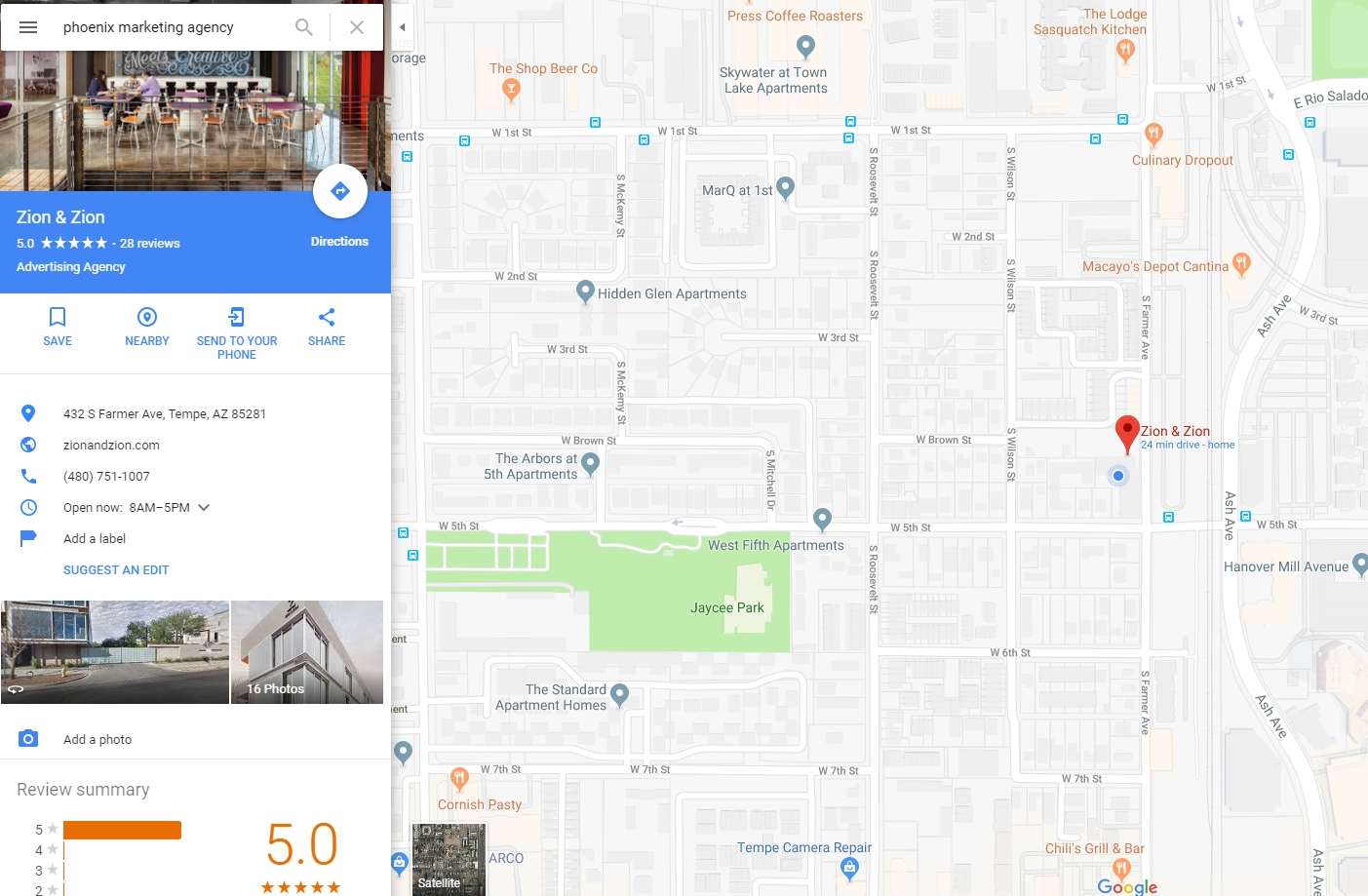 the local listings in google