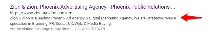 the meta description of a website