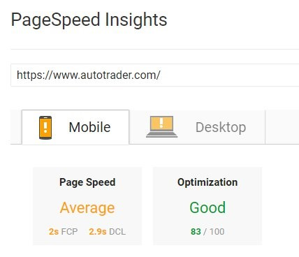 page speed results of a website