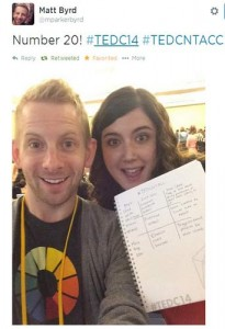 My selfie with Matt Byrd for completing my #TEDCNTAC!