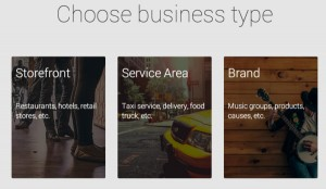 Google Business Pages Type Options