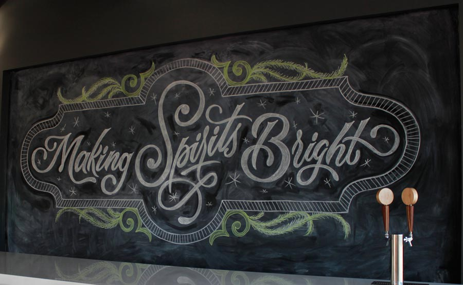 Making Spirits Bright Chalkboard Art