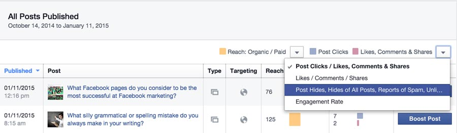 Facebook Insights All Posts Published
