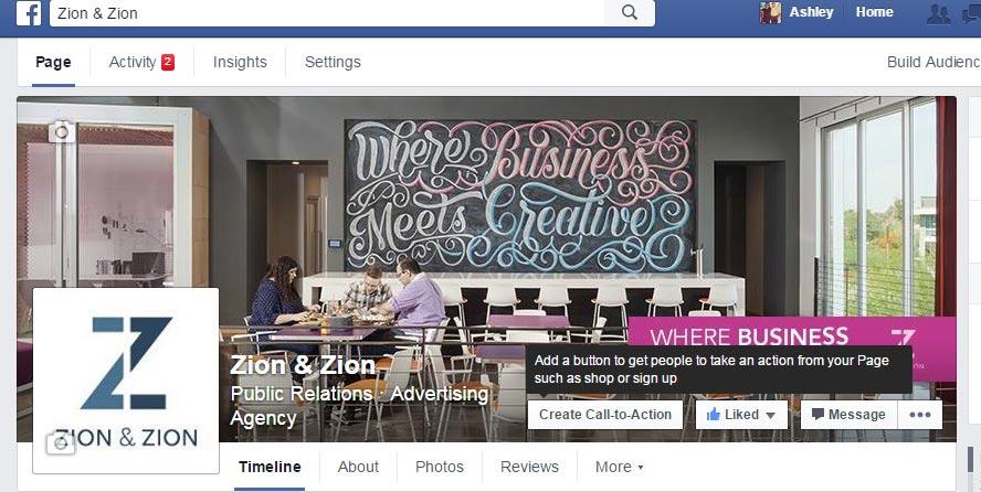 Facebook Create Call-to-Action Button