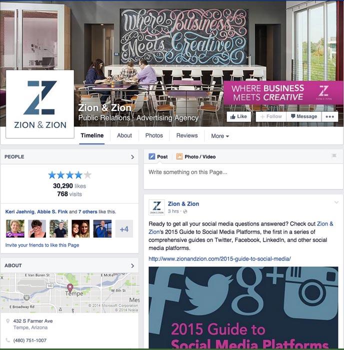 Desktop View of Zion & Zion Facebook's Page