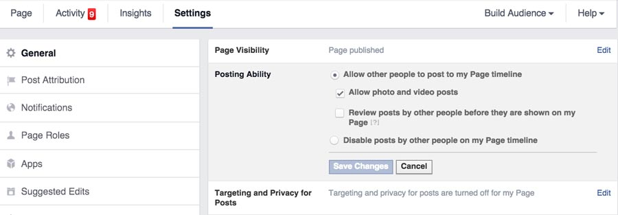 Facebook Posts to Page Settings