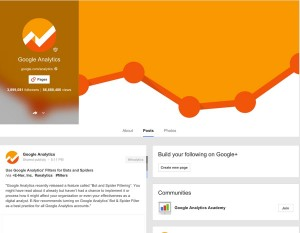 Google Analytics' Google+ Profile