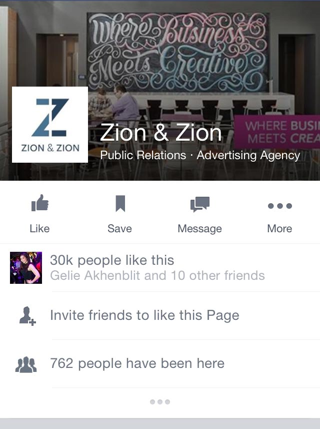 Mobile View of Zion & Zion Facebook's Page