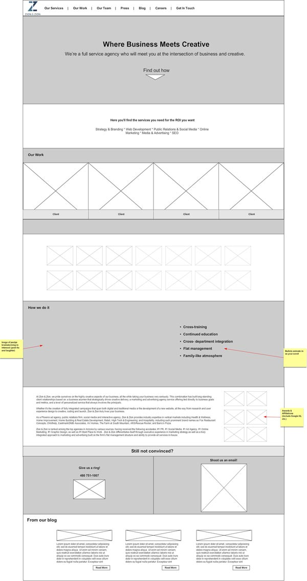 Zion & Zion Parallax Website Wireframe