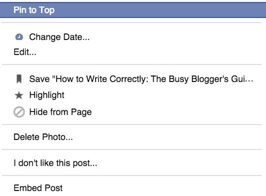 Facebook Pin Post to Top