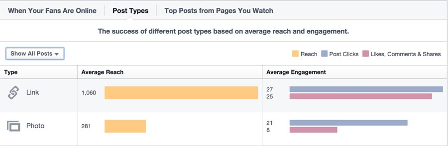 Facebook Insights Post Type