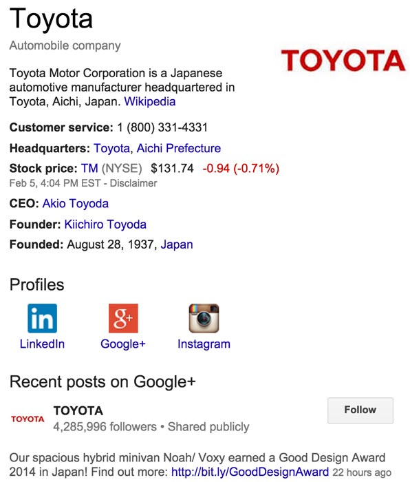 Google Plus Page Search Results for Toyota