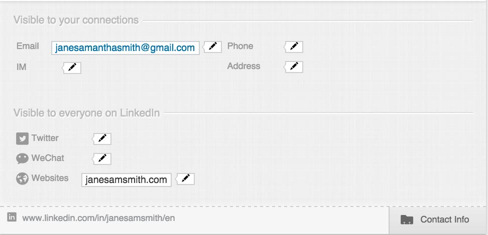Updating LinkedIn Contact Info