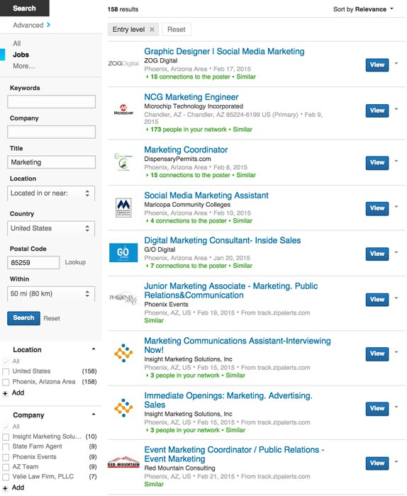 LinkedIn Job Search Listings