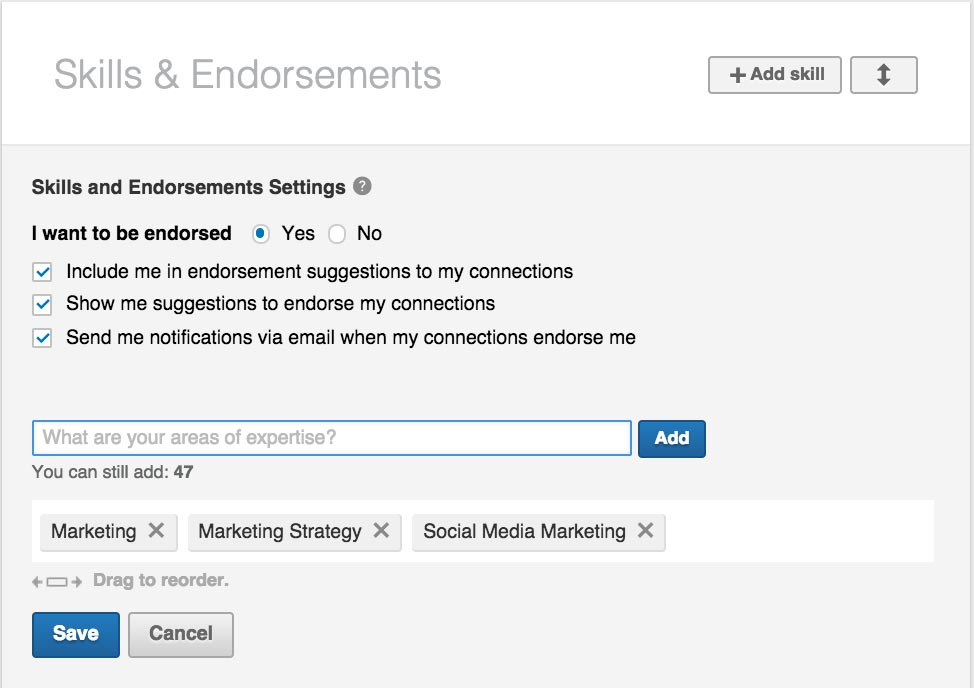 Listing Your Skills and Endorsements