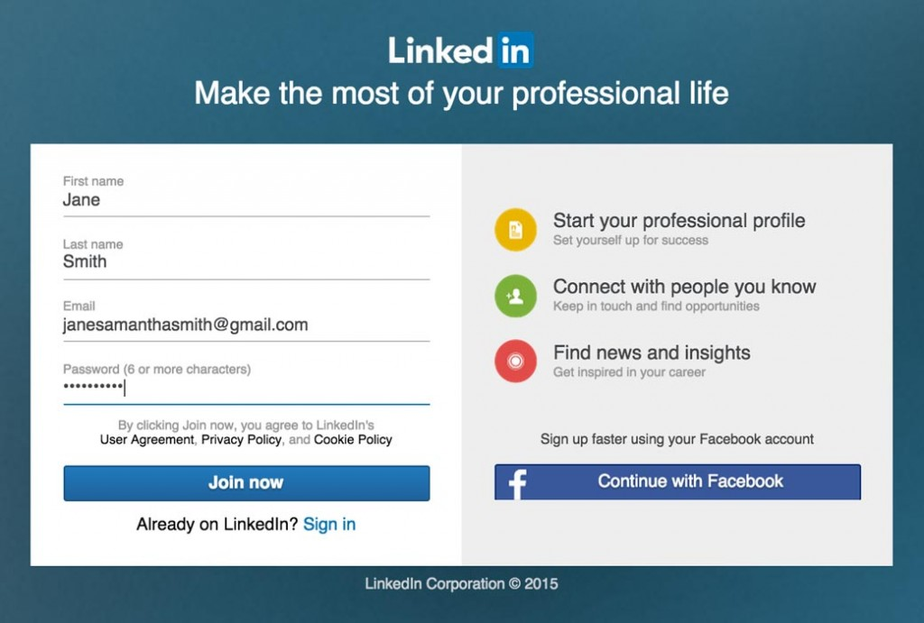 Sign Up For LinkedIn Step One