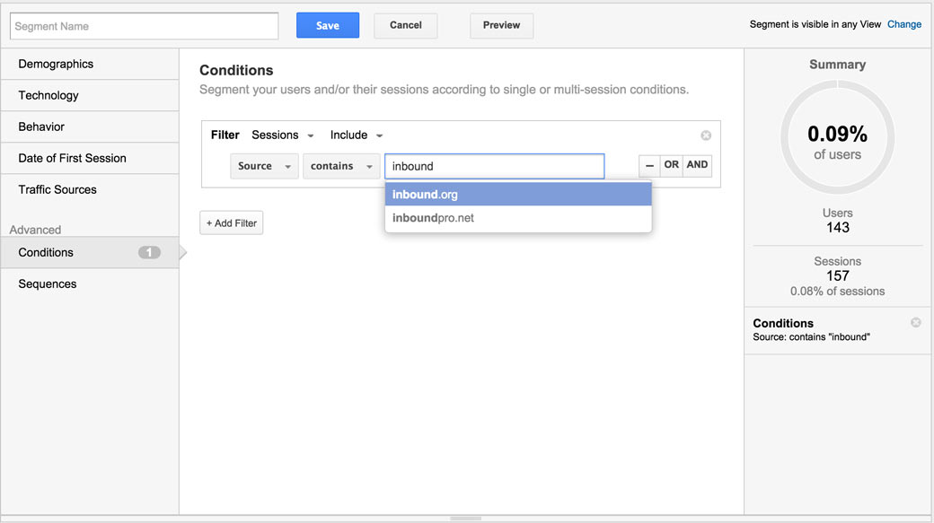 Google Analytics Social Segment Custom
