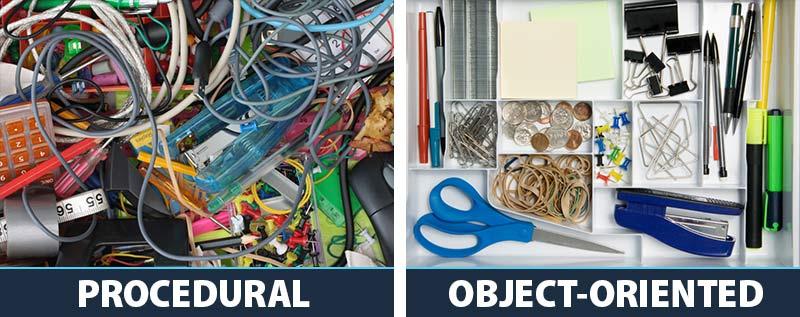 Procedural vs OOP Programming Kitchen Drawer Example