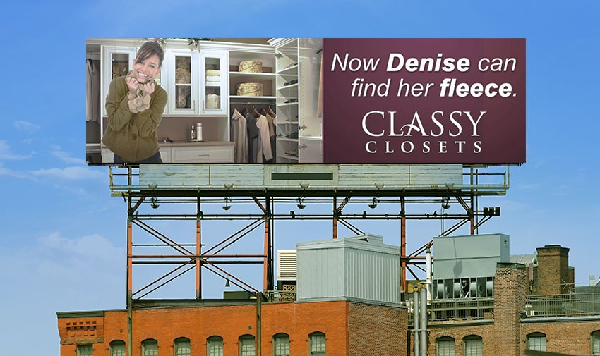 Alternate view of Classy Closet industrial billboard.