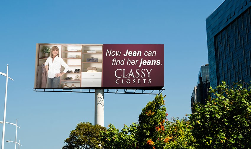 Skyline view of Classy Closets billboard.