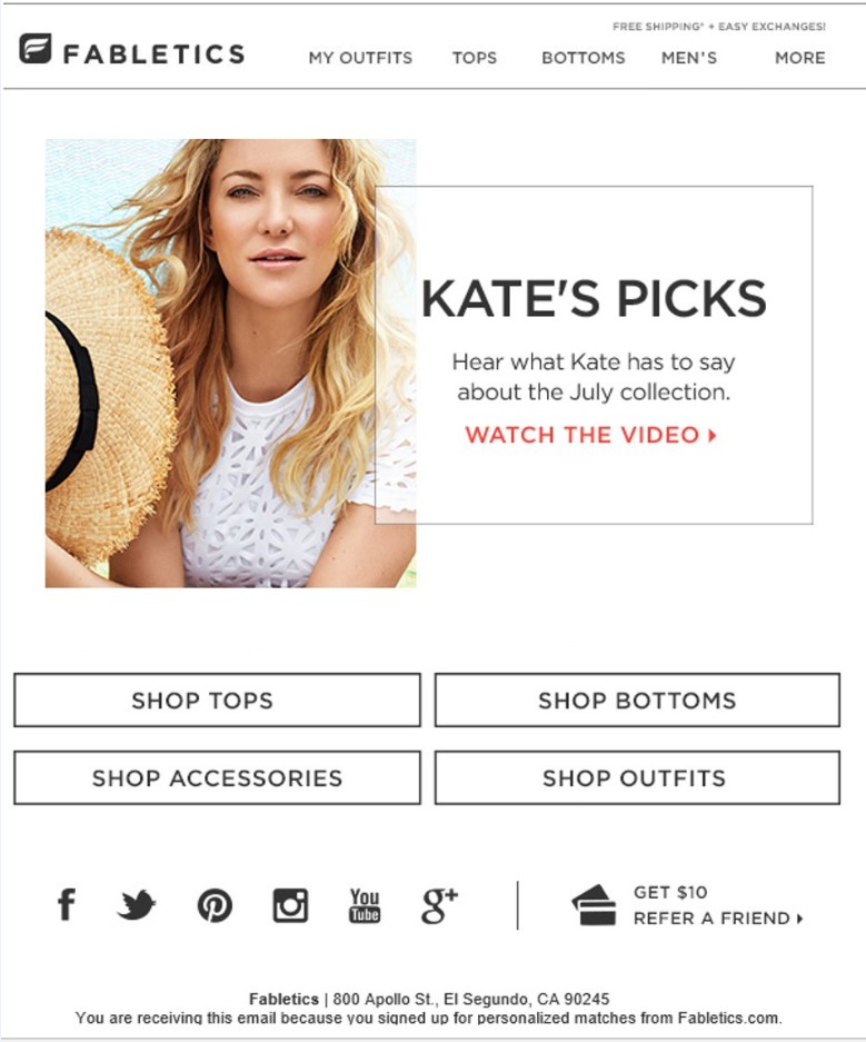 Fabletics email example graphic