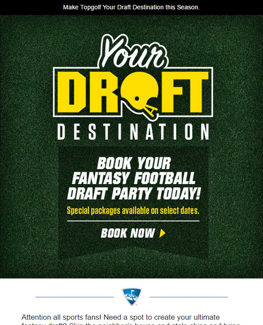Topgolf email example