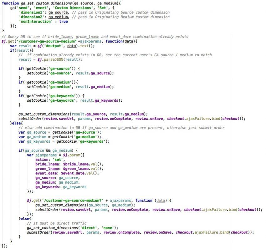 Dimension code