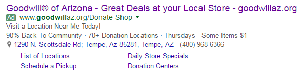 Location ad extension