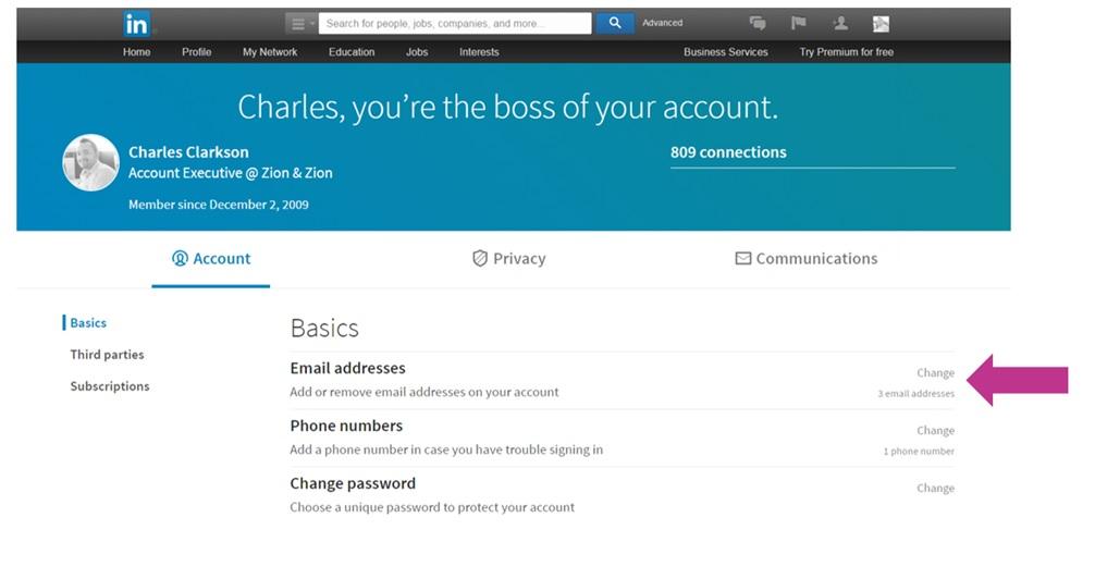 email setting 2 linkedin