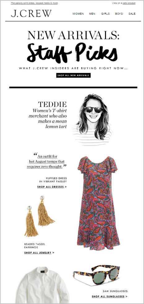 j crew email example graphic