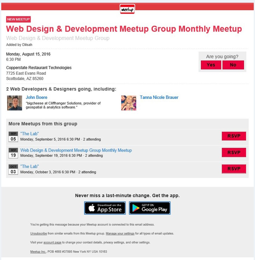 meetup email example graphic