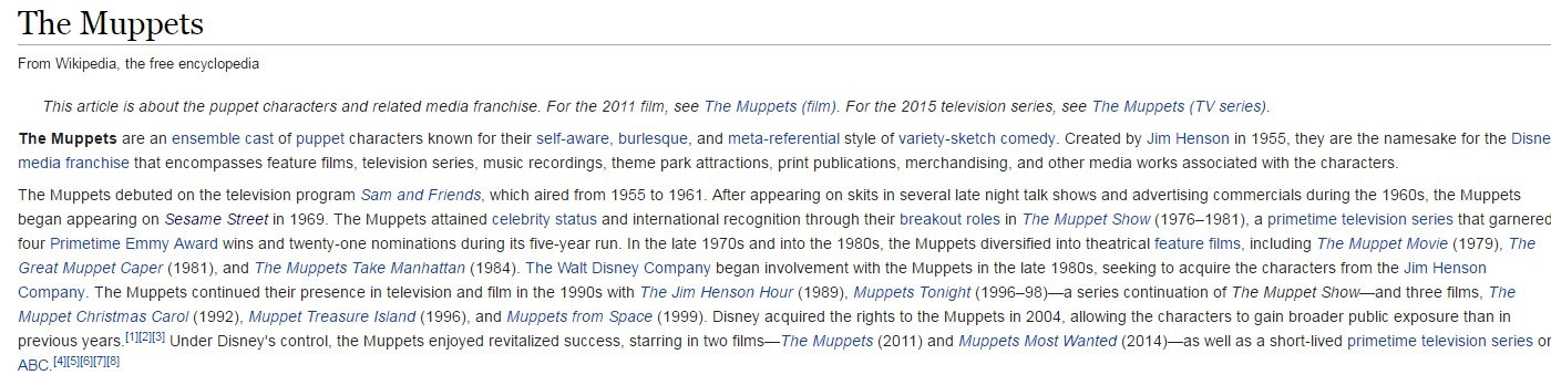 wikipedia article on the muppets
