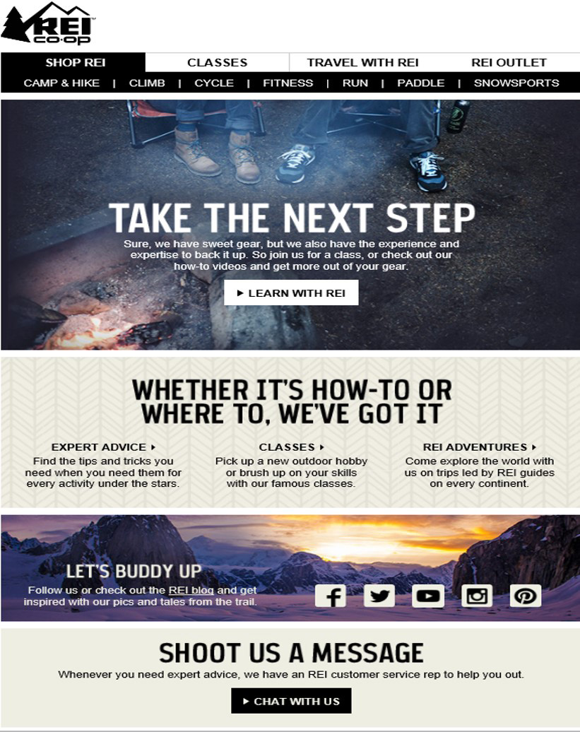 REI email example graphic