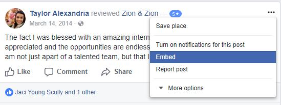 embed public review fb