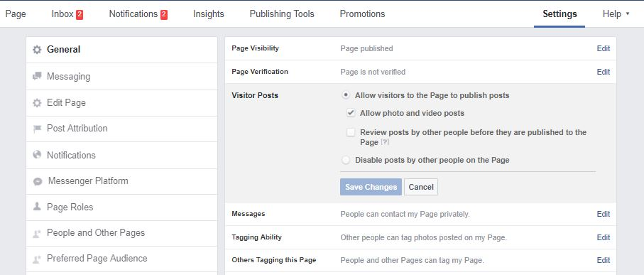 fb posts to page settings