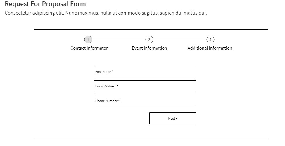 wireframe example of long form