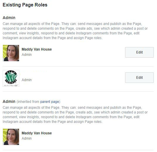 fb page roles