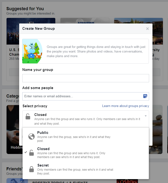 Facebook Groups Example: UX Writing