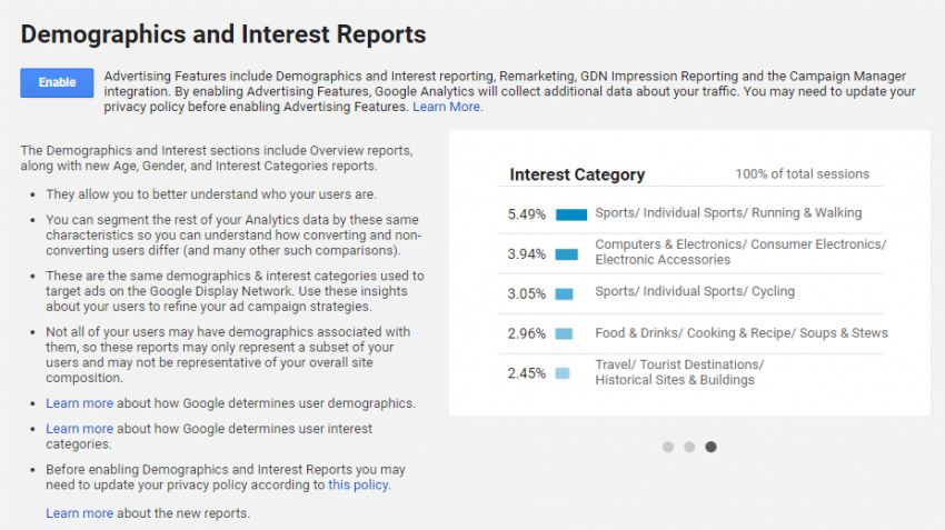 Turn On Demographics | Google Analytics