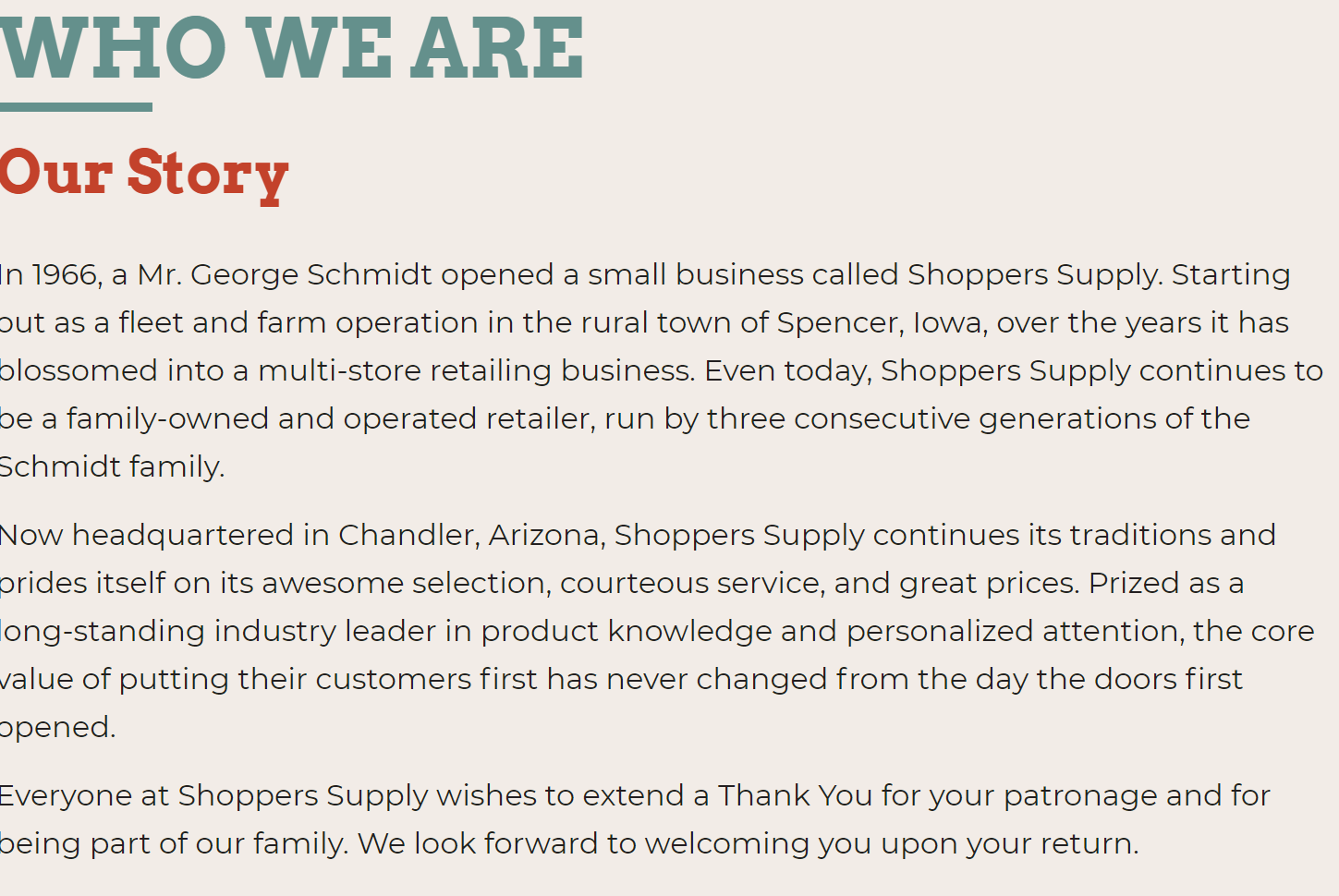 "Shoppers Supply Our Story Example | The Importance of an ""About"" Page, and How to Make Yours Stand Out"