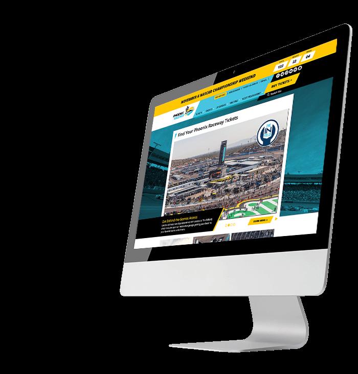 Phoenix Raceway website on desktop computer