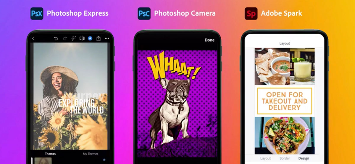 Photoshop Express, Photoshop Camera, Adobe Spark
